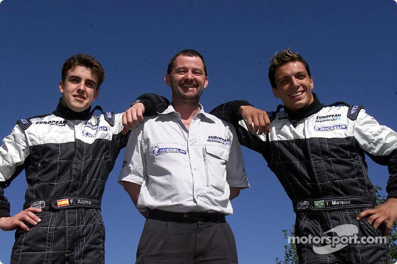 Fernando Alonso, new boss Paul Stoddart and Tarso Marques