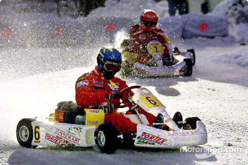 Rally style: Tommi Makkinen in front of Michael Schumacher