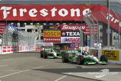 Dario Franchitti followed by team mate Paul Tracy