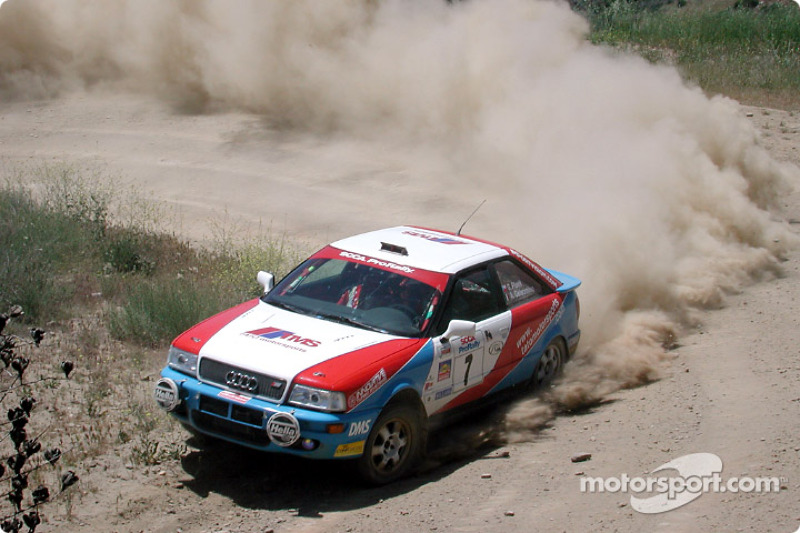George Plsek and Alex Gelsomino in an Audi Quattro