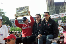 Audi Sport North America during the drivers parade: Rinaldo Capello with the pole position trophy, Christian Pescatori and Laurent Aiello
