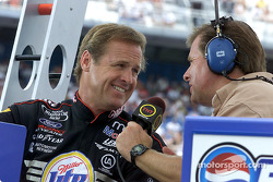 Rusty Wallace is all smiles as he chats to Bill Weber
