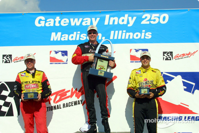 The podium: Mark Dismore, Al Unser Jr. and Sam Hornish Jr.