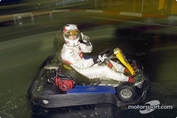 Tom Kristensen during a go-kart race
