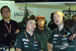 Niki Lauda in Jaguar garage