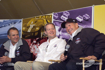 Racing greats Bob Glidden, Tom Kendall and Parnelli Jones enjoy a laugh during an interview