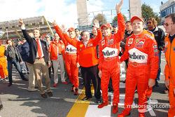Luca di Montezemelo, Michael Schumacher, Jean Todt, Luca Badoer and Rubens Barrichello