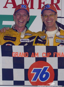 David Haskell and Selby Wellman are all smiles in Daytona International Speedway's Victory Lane after taking their second-straight win of the season