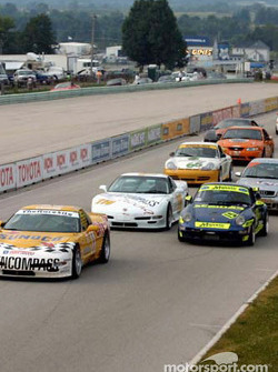 The #11 Powell Motorsports Corvette leads the field to the green flag
