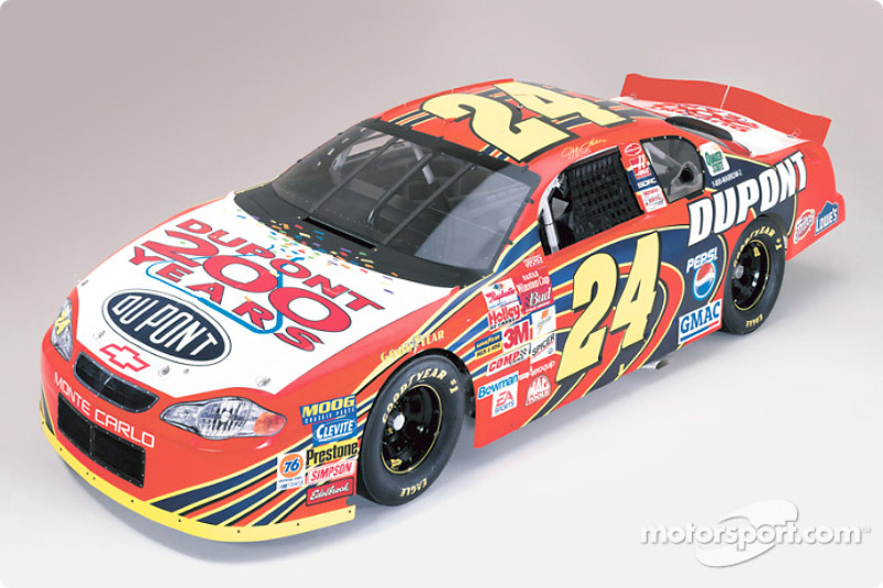 The Dupont Chevrolet of Jeff Gordon with its 2002 paint scheme
