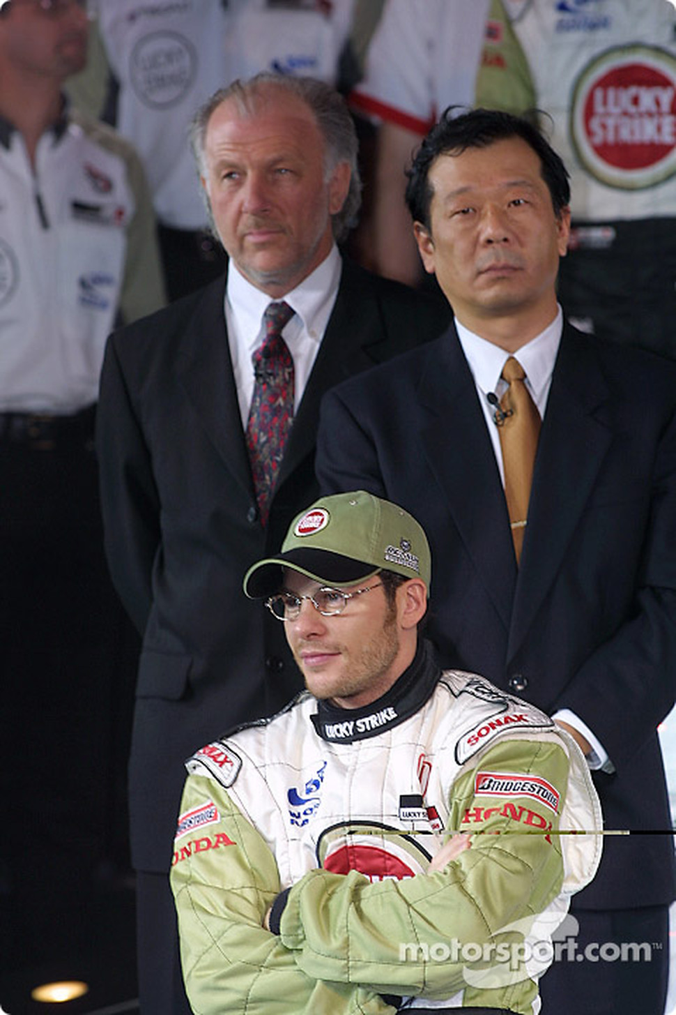 Jacques Villeneuve with David Richards and Toru Ogawa