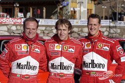 Rubens Barrichello, Luca Badoer and Michael Schumacher