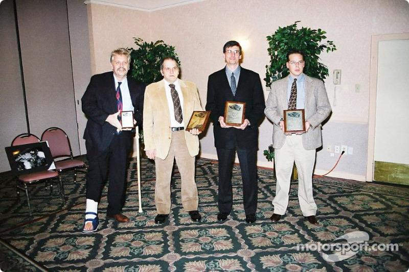 EMPA Internet writers winners: Motorsport.com's David Reininger on the far left and Thomas Chemris on the far right