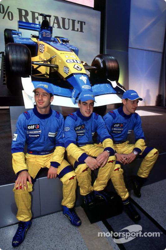 Jarno Trulli, Fernando Alonso and Jenson Button