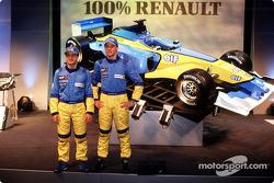 Jarno Trulli and Jenson Button with the new 2002 Mild Seven Renault F1 R202