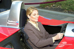 Kim Alexis tries her hand behind the wheel