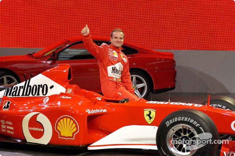 Rubens Barrichello with the new Ferrari F2002