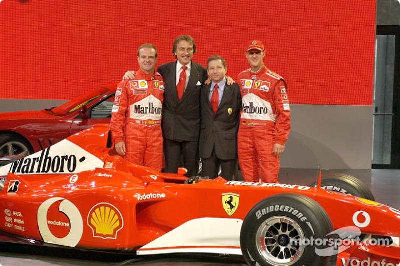Rubens Barrichello, Luca di Montezemelo, Jean Todt and Michael Schumacher