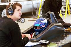 Ryan Hunter-Reay discussing with Hylton Motorsports Engineer Kyle Brannan