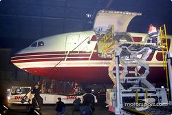 The new Jordan Honda EJ12 arriving at the DHL aircraft hangar at the Brussels airport