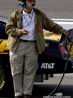 Owner Jack Roush keeps track of the competition during qualifying
