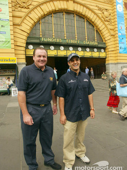 Compaq driver day: Alan Jones and Juan Pablo Montoya in front of Flinders Street Station