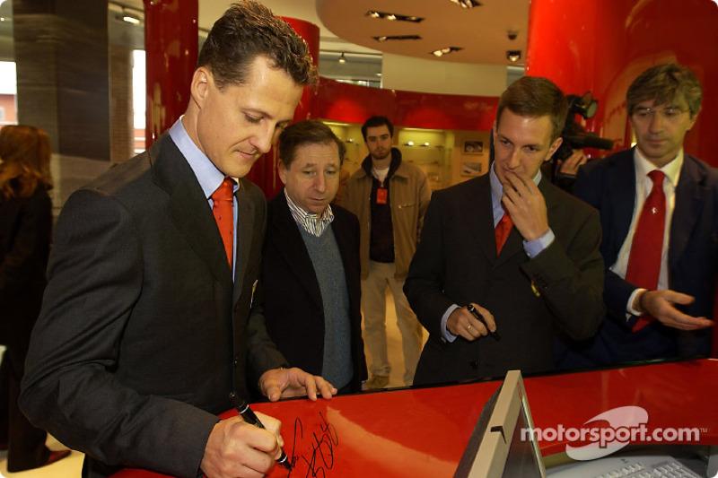 Official opening of Ferrari Store, Maranello: Michael Schumacher, Jean Todt and Luciano Burti