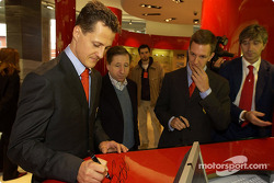Official opening of Ferrari Store, Maranello: Michael Schumacher, Jean Todt and Luciano Burti