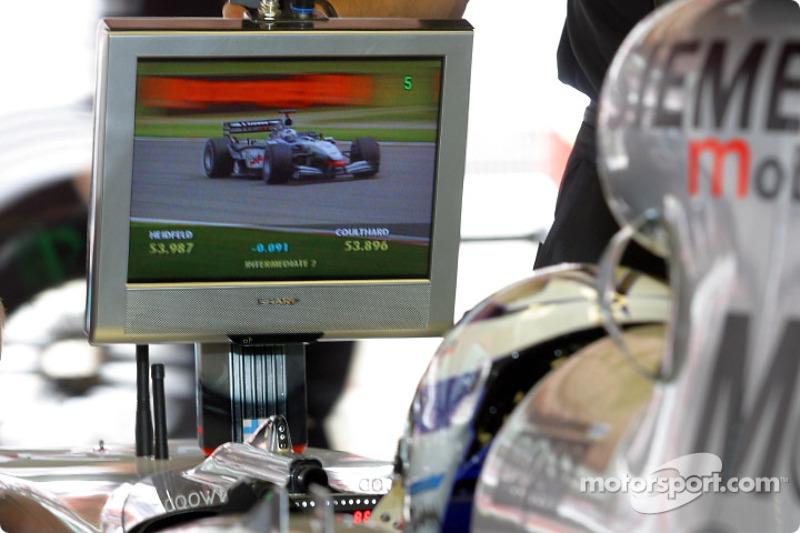 Kimi Raikkonen watching David Coulthard