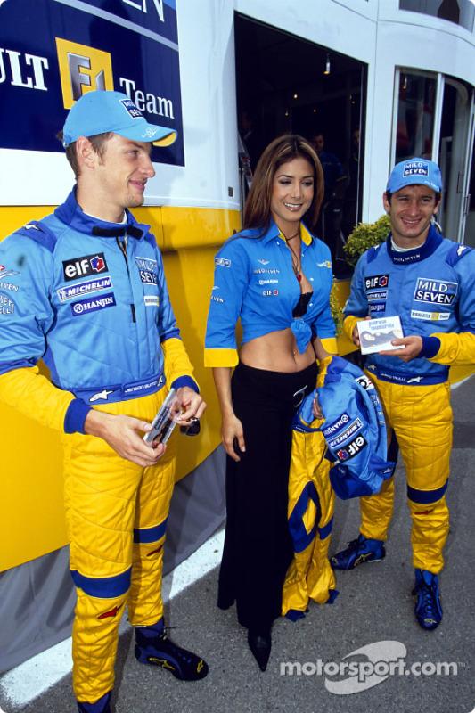 Jenson Button, Mexican pop star Patricia Manterola and Jarno Trulli