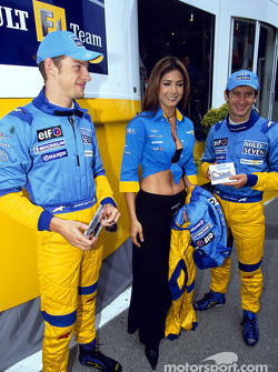 Jenson Button, Mexican pop star Patricia Manterola and Jarno Trulli
