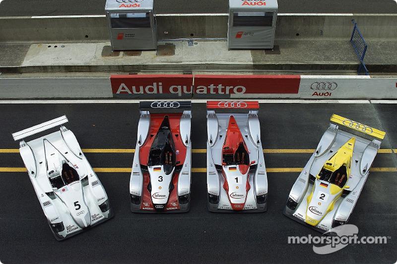 The four Audi sportscars for the 24 Hours of Le Mans 2002 (including Audi Sport Japan Team Goh, left)