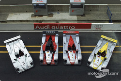 The four Audi sportscars for the 24 Hours of Le Mans 2002 (including Audi Sport Japan Team Goh, left)