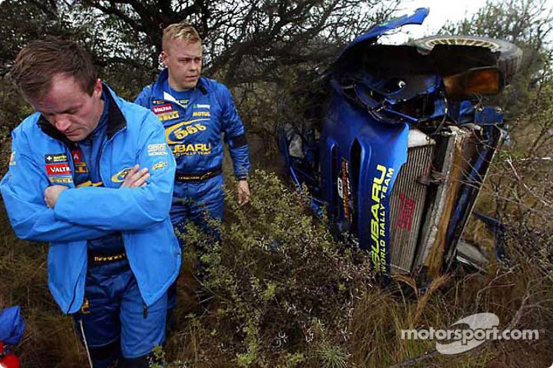 Tommi Makinen after the crash