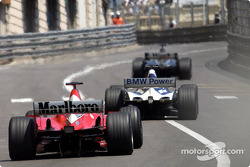 First lap: David Coulthard leading Juan Pablo Montoya and Michael Schumacher