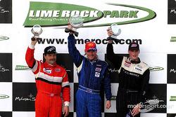 The podium: race winner Randy Pobst with Johannes van Overbeek and Jeff McMillin