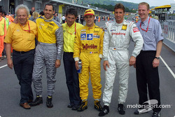 Pole winner Laurent Aiello with Alain Menu and Bernd Schneider