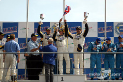 The LM GTS podium: winners Oliver Gavin, Johnny O'Connell and Ron Fellows celebrating