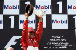 The podium: race winner and five-time World Champion Michael Schumacher