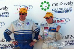 The LMP 675 podium: Ross Bentley and Melanie Paterson
