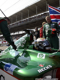 Eddie Irvine on the starting grid