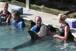 Swimming with dolphins: Stefan Johansson and David Brabham