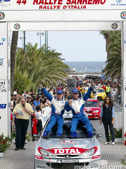 The podium: race winner Gilles Panizzi