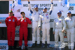 The podium: GT winners Lucas Luhr and Sascha Maassen with Anthony Lazzaro, Ralf Kelleners, Kevin Buckler and Brian Cunningham