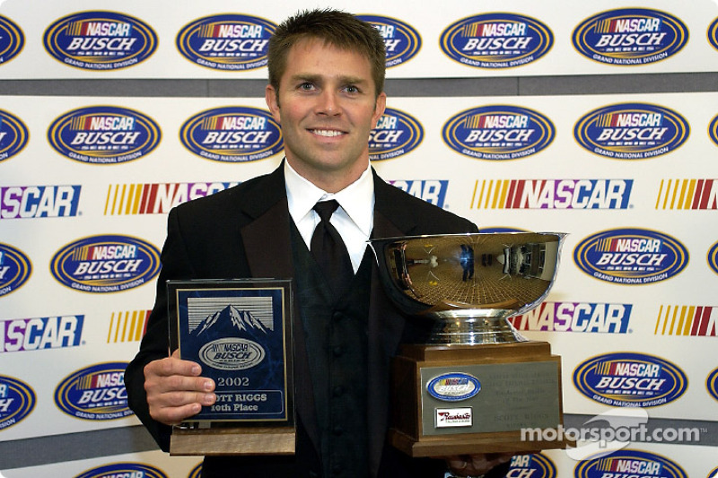 Ford driver Scott Riggs took home the awards for 10th place in points and Rookie of the Year honors for 2002