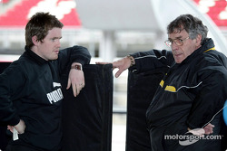 Jordan race engineer Rob Smedley talks with Jordan designer Gary Anderson