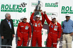 The podium: second place #35 Risi Competizione Ferrari 360GT: Ralf Kelleners, Anthony Lazzaro, Johnny Mowlem