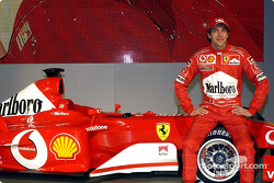 Luca Badoer with the new Ferrari F2003-GA