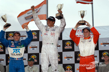 The podium: race winner Leonardo Maia with Dan di Leo and Memo Rojas