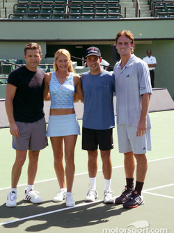 Tennis stars Anna Kournikova and Jan-Michael Gambill with Helio Castroneves and Gil de Ferran